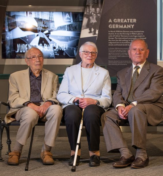 Holocaust survivors Heinz Skyte, Trude Silman and Arek Hersh in the exhibition 'Through Our Eyes'