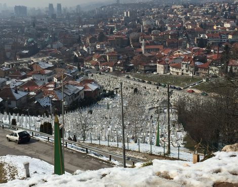 Aerial view of graveyard at Sarajevo